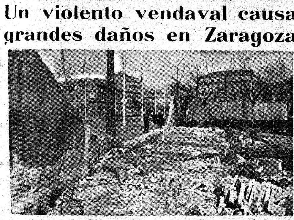 Vendaval en Zaragoza, en 1956