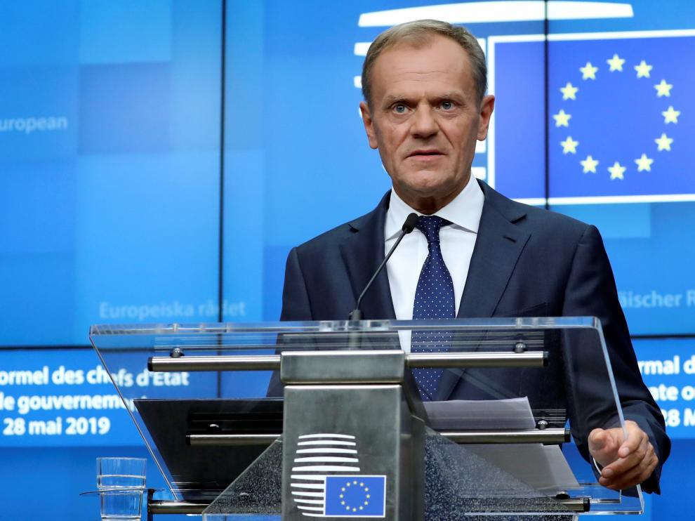 European Council President Donald Tusk holds a news conference after a European Union leaders summit following the EU elections, in Brussels, Belgium May 28, 2019.  REUTERS/Yves Herman [[[REUTERS VOCENTO]]] EU-ELECTION/SUMMIT
