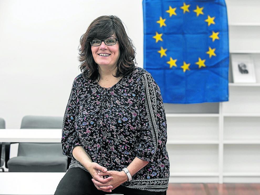 La eurodiputada electa Isabel García, este miércoles, en la sede del PSOE-Aragón.