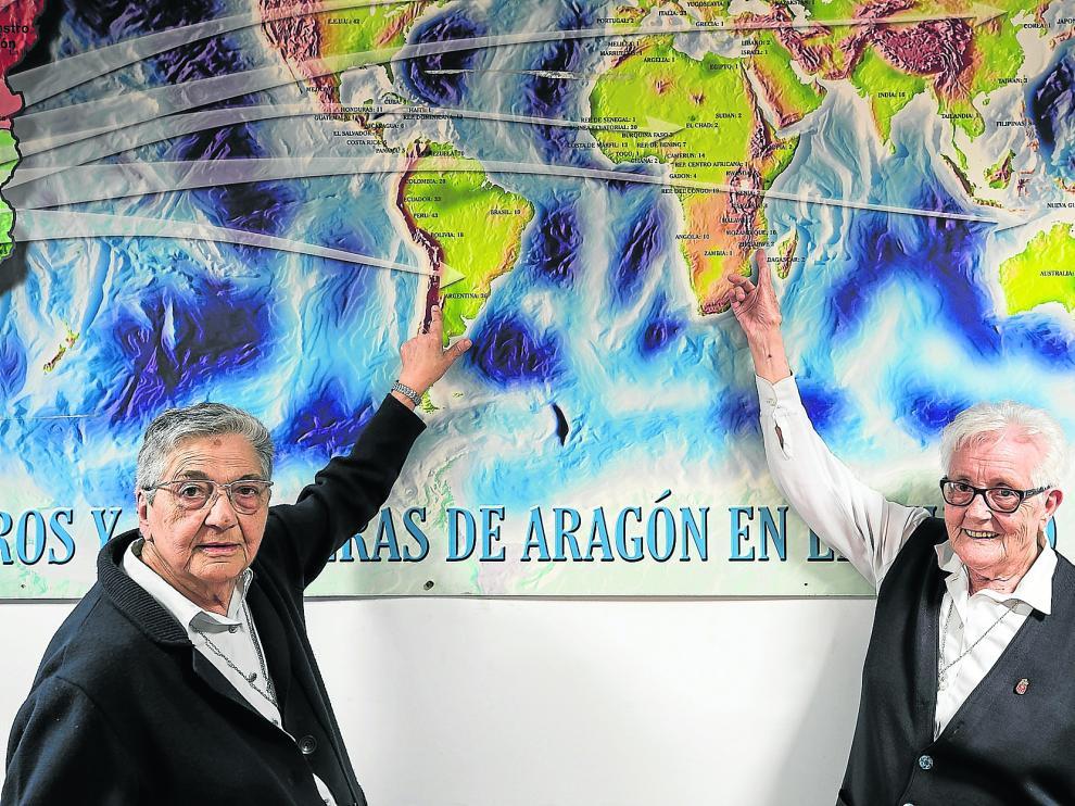 Mª Luz Guiral tiene 90 años y Carmen Acín ha cumplido 85. Las dos regresaron hace poco a Zaragoza, tras toda una vida de misioneras.