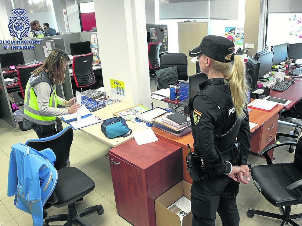 Las oficinas de Linceci en Zaragoza, situadas en la calle de Carlos Marx, fueron registradas la semana pasada por la Policía.