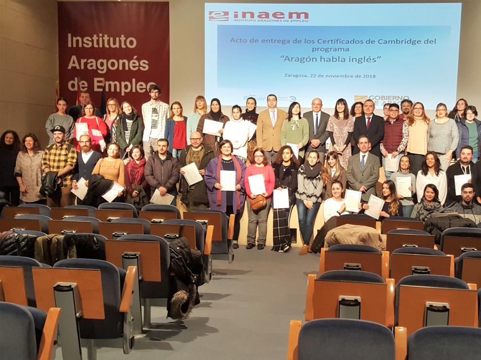 Acto de clausura de la anterior edición de Aragón habla inglés que impartió Grupo Piquer en Zaragoza.