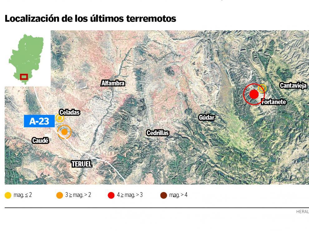 Localización de los últimos terremotos en la provincia de Teruel.