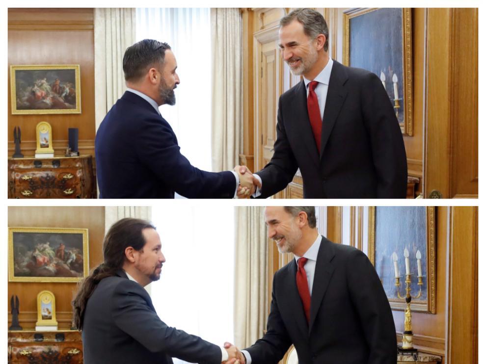 El Rey recibe a Santiago Abascal y Pablo Iglesias en las consultas de investidura