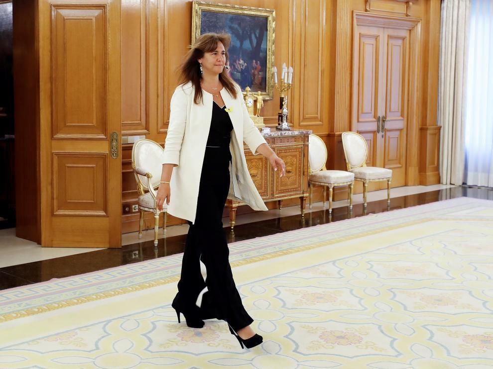 La portavoz de JxCat en el Congreso, Laura Borràs, en el Palacio de la Zarzuela.