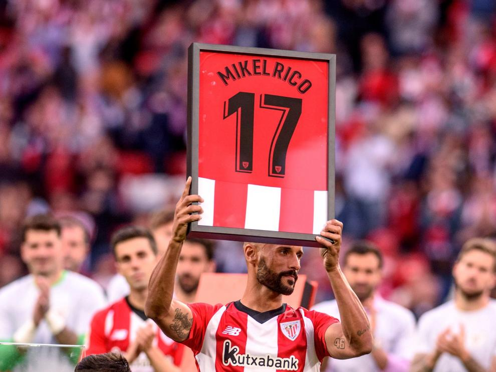 Mikel Rico, durante el homenaje que le tributó el Athletic de Bilbao.