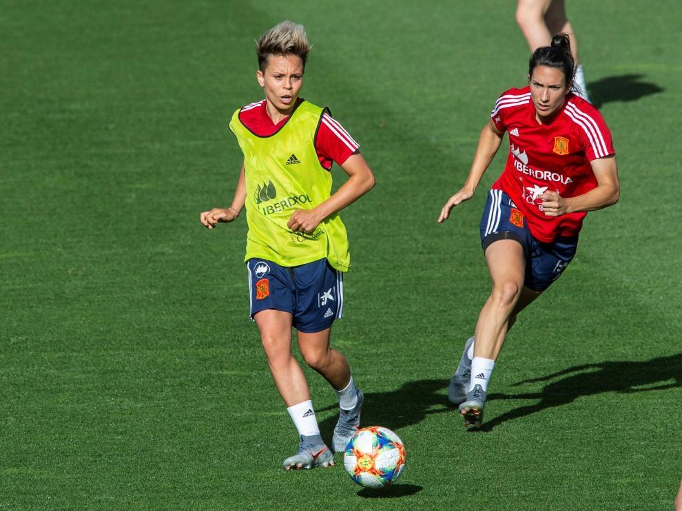 Entrenamiento de la selección española de fútbol femenino.