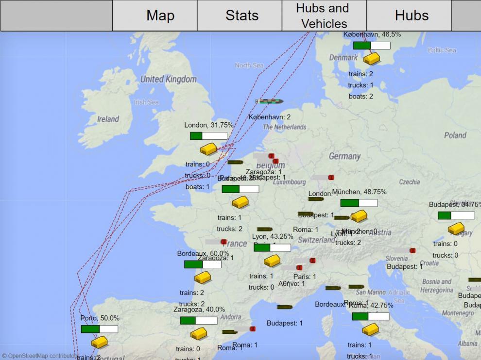Escenario de simulación de 'physical internet' en Europa que refleja las rutas de transporte y el estado de los principales nodos de la red.