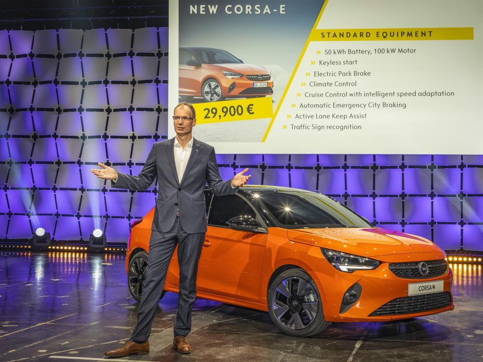 Michael Lohscheller, en la presentación del Corsa eléctrico en Alemania