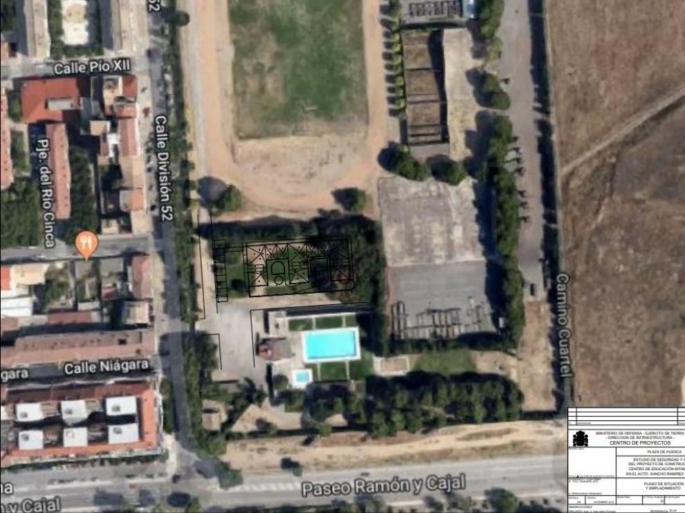 Plano de ubicación de la futura guardería dentro del recinto del cuartel.