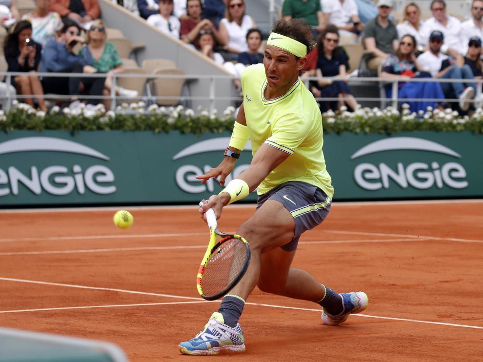 Rafa Nadal, en acción en Roland Garros.