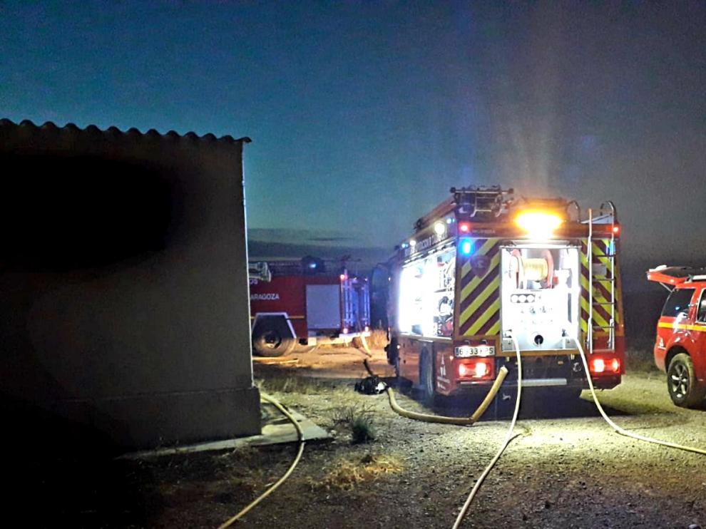 Extinguido un incendio en una granja de lechones de Tauste