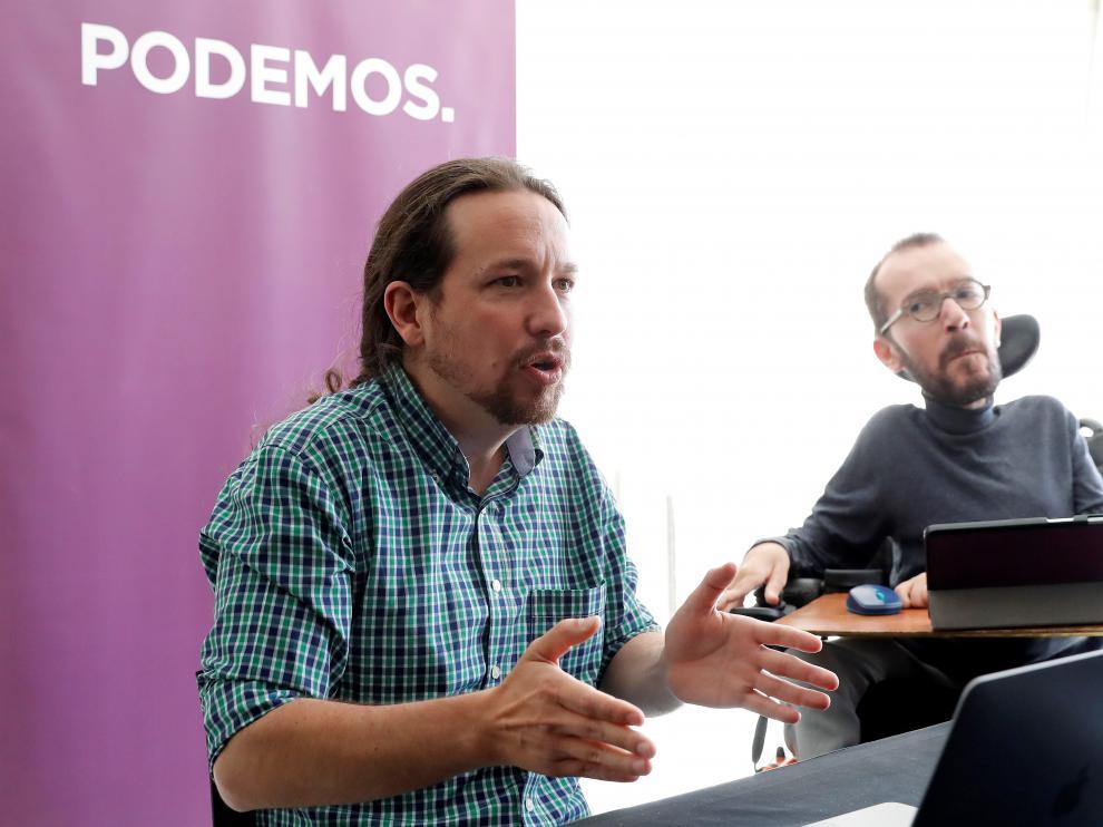 Pablo Iglesias, en el Consejo Estatal de Podemos, este sábado.