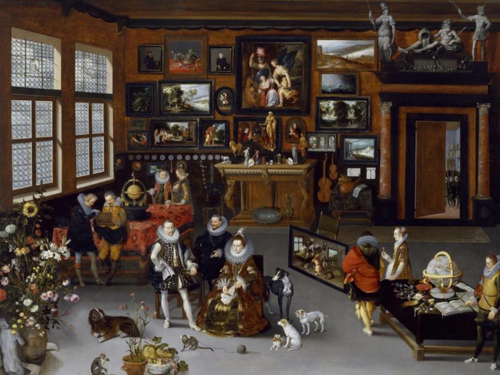 Detalle de la pintura 'Los archiduques Alberto e Isabel visitando un gabinete de coleccionista', de Jan Brueghel y Hyeronimus Francken II.
