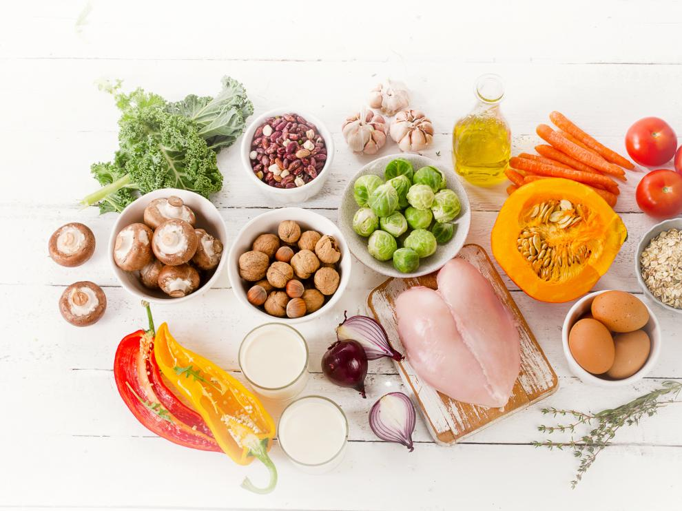 Balanced diet. Cooking and food concept. Top view