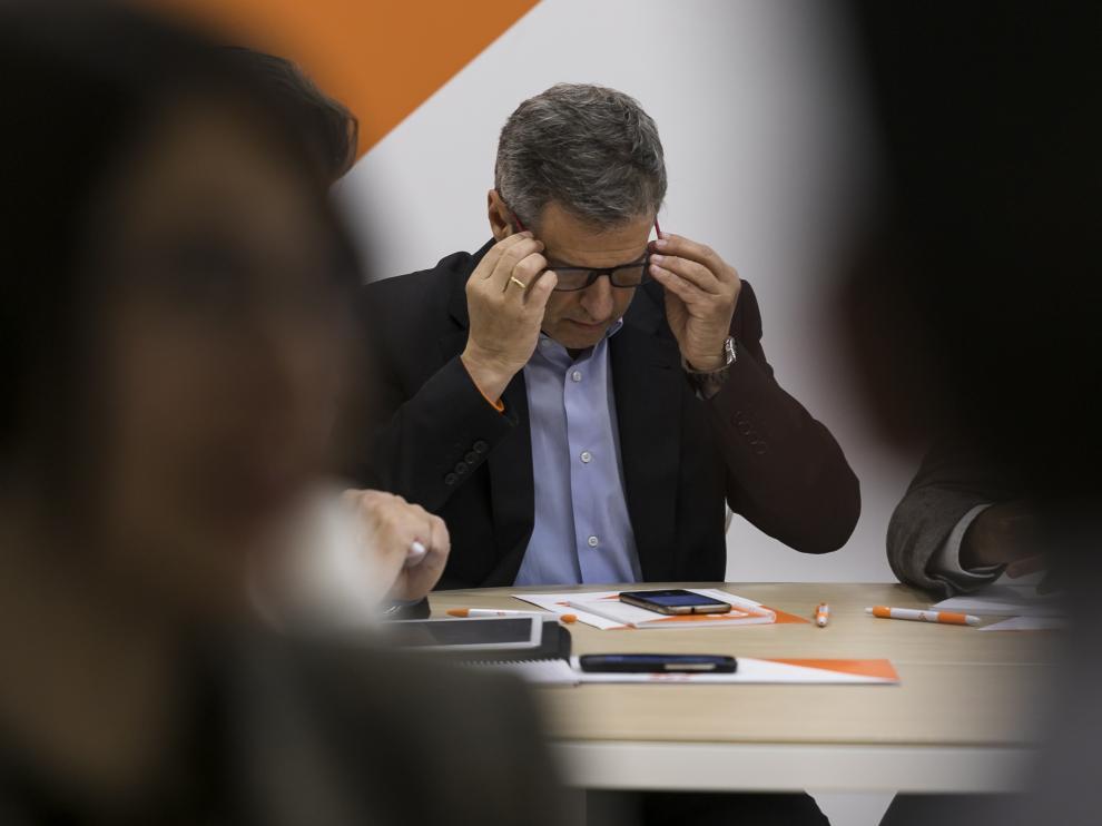 Daniel Pérez Calvo, en una de las últimas reuniones de Ciudadanos