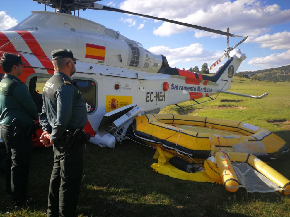 El helicóptero accidentado en Albarracín.