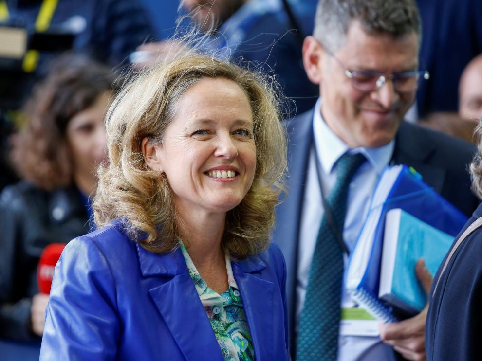 Nadia Calviño a su llegada a la reunión de ministros de Economía y Finanzas de la eurozona.