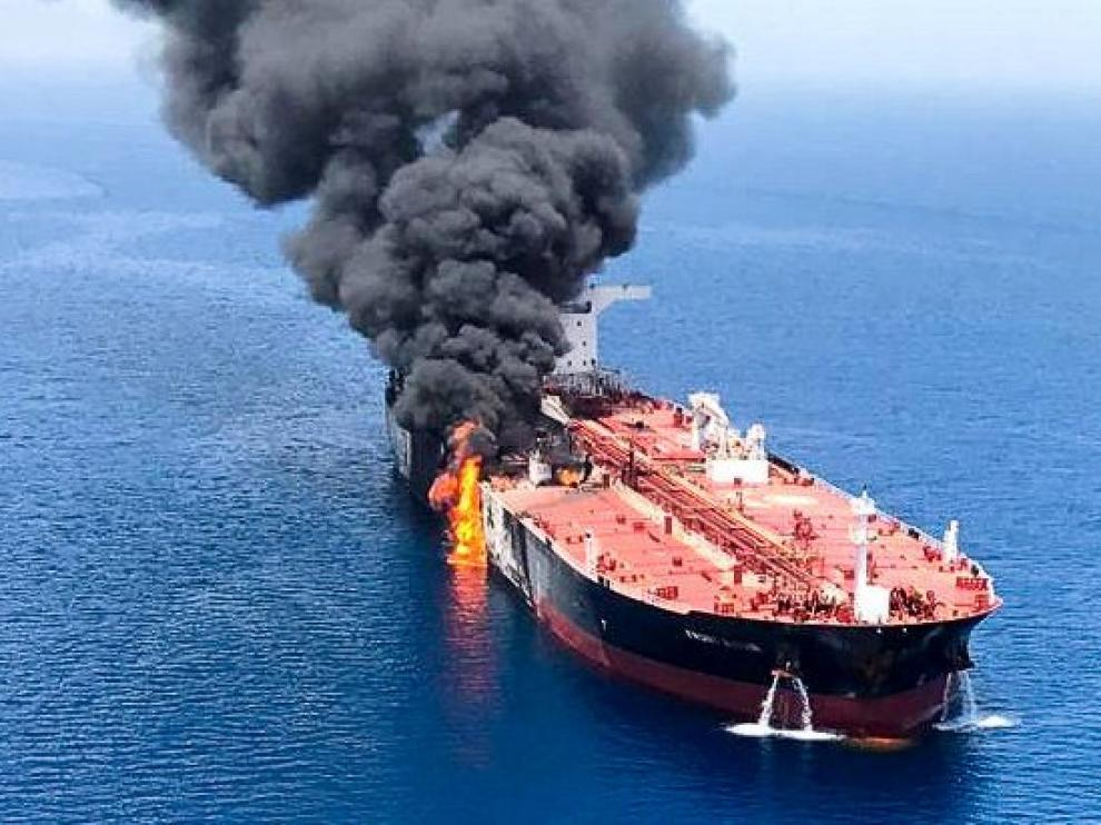 An oil tanker is seen after it was attacked at the Gulf of Oman, in waters between Gulf Arab states and Iran, June 13, 2019. ISNA/Handout via REUTERS ATTENTION EDITORS - THIS IMAGE WAS PROVIDED BY A THIRD PARTY. NO RESALES. NO ARCHIVES [[[REUTERS VOCENTO]]] MIDEAST-TANKER/