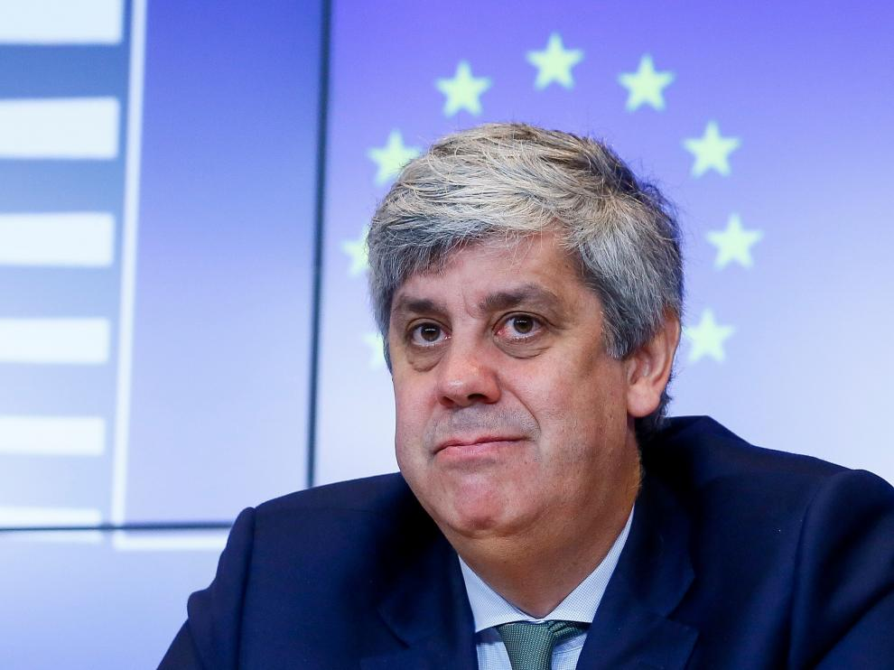 El presidente del Eurogrupo, Mario Centeno, en rueda de prensa.