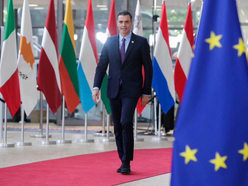 El presidente del Gobierno en funciones, Pedro Sánchez, a su llegada a Bruselas.
