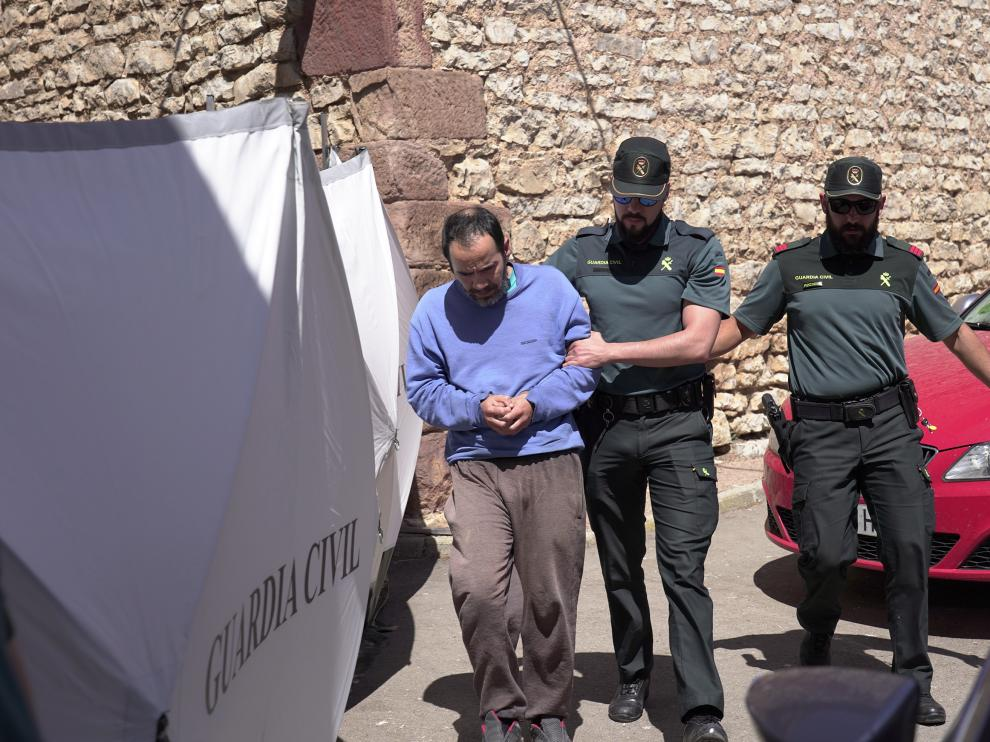 Pedro Blasco acusado dela muerte de su madre en Pozondon (Teruel). esconducida a la reconstruccion de los hechos Foto /Antonio Garcia/Bykofoto.20/06/19 [[[FOTOGRAFOS]]]