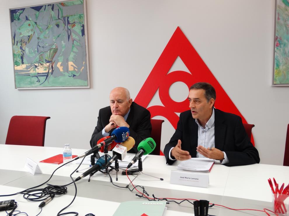 Fernando Galdámez y José María Lamana, este jueves en la presentación de la memoria de 2018 de la Fundación Ozanam