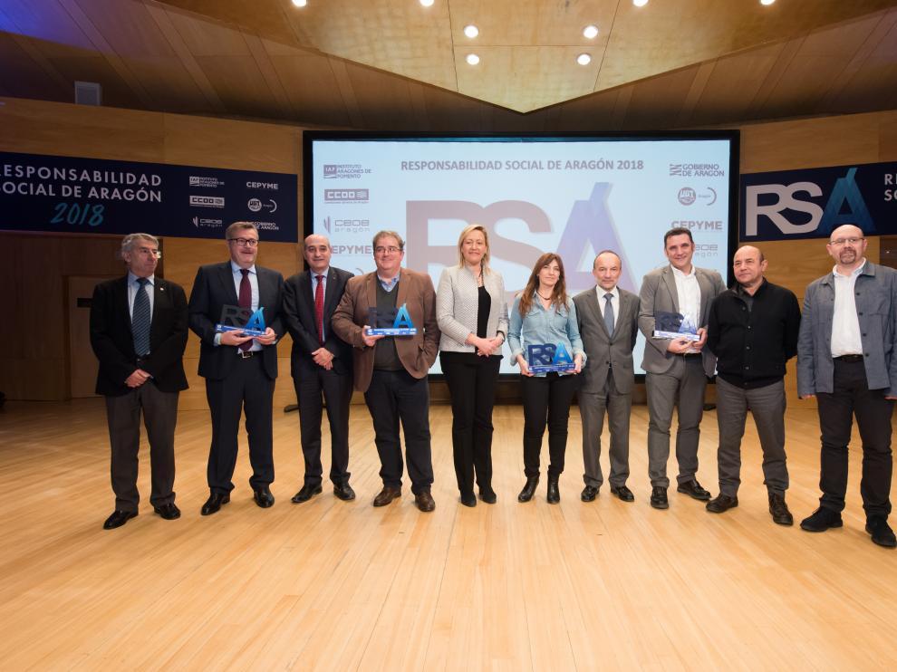 Los participantes galardonados en la última edición de los premios de Responsabilidad Social de Aragón.