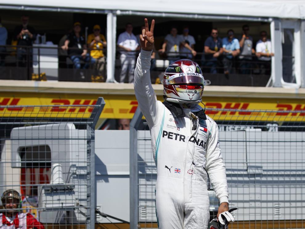 Lewis Hamilton, tras conseguir la pole en el GP de Francia.