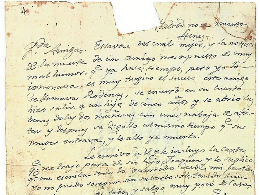 La imagen y la transcripción de la carta inédita de Goya subastada en París.