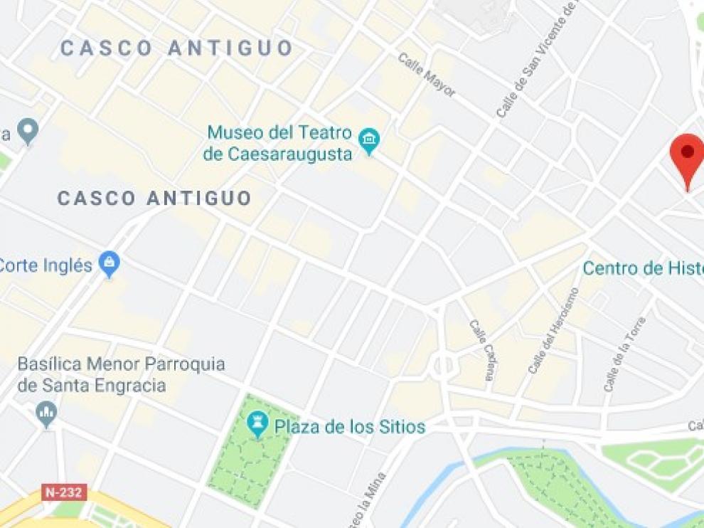 Lugar de la agresión, en el centro de Zaragoza.