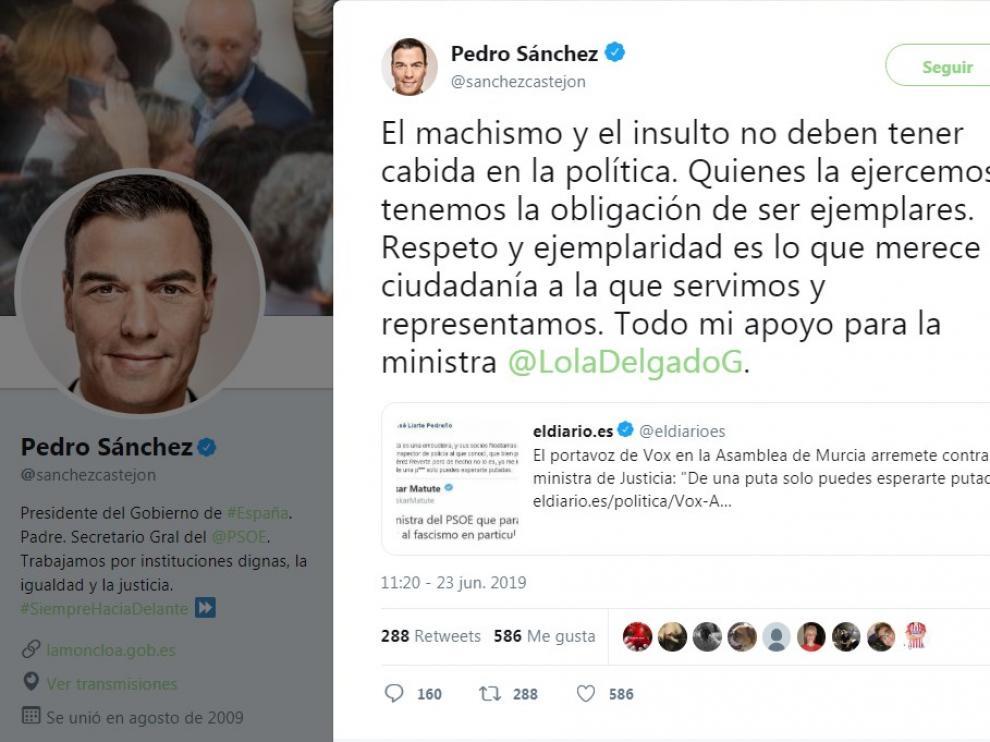 Tuit publicado por Pedro Sánchez en apoyo a la ministra.