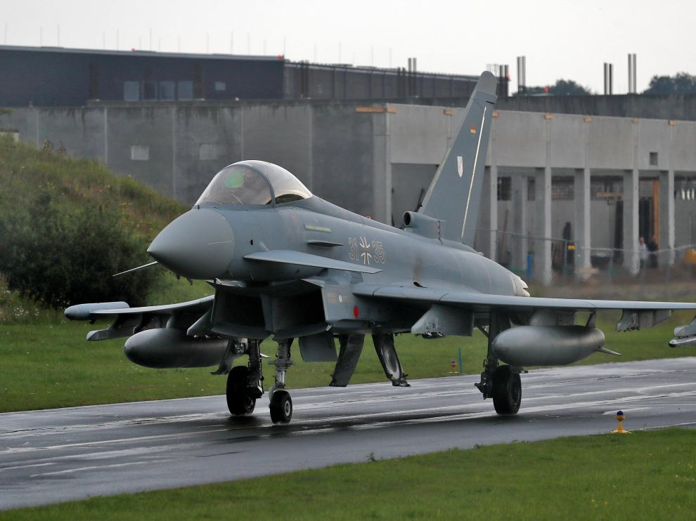 Fotografía de archivo de un Eurofighter de las Fuerzas Aéreas alemanas.