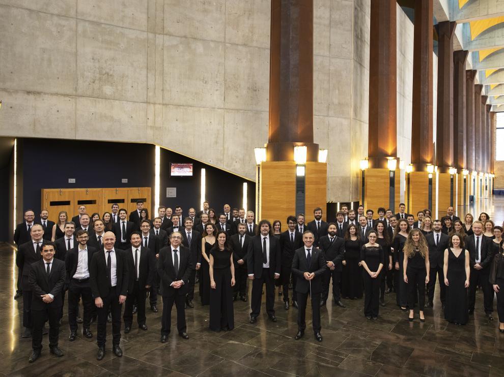 La Orquesta Reino de Aragón, en el Auditorio de Zaragoza, de donde es formación residente.