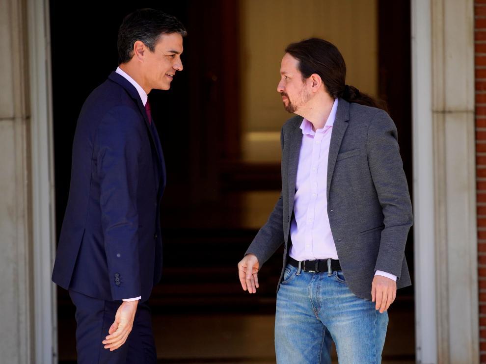 Pedro Sánchez y Pablo Iglesias durante su última reunión en Moncloa