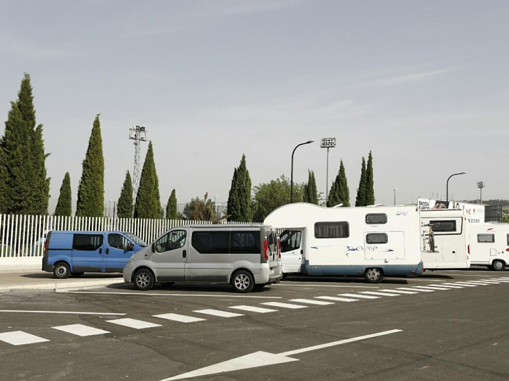Área de autocaravanas de Zaragoza, este jueves por la mañana.