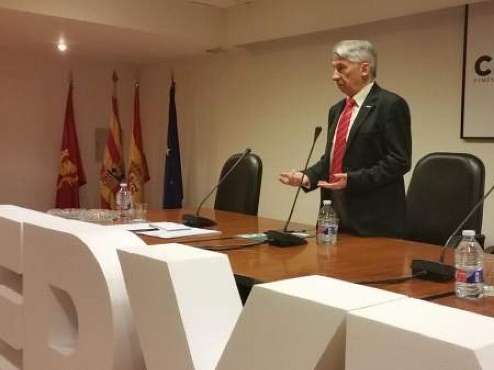 Aurelio López de Hita, presidente de Cepyme Aragón, en la sede de la organización empresarial en Zaragoza.