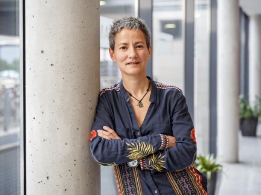 Marina Logares en el congreso BYMAT celebrado en el Instituto de Ciencias Matemáticas.