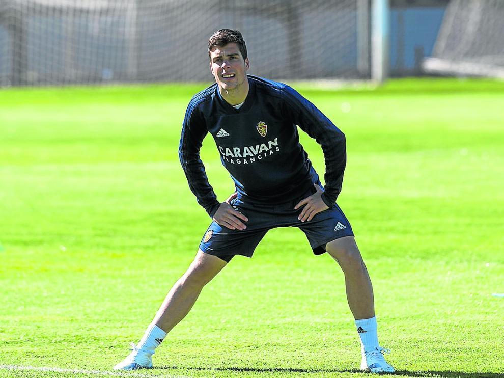 Alberto Soro, en un entrenamiento del Real Zaragoza.