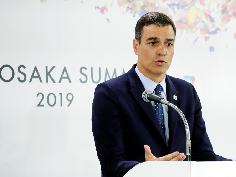 Pedro Sánchez en su comparecencia ante los medios durante la cumbre del G20