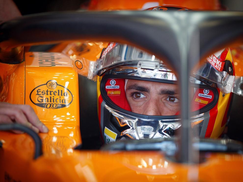 El piloto español Carlos Sainz durante los entrenamientos para el Gran Premio de Austria.