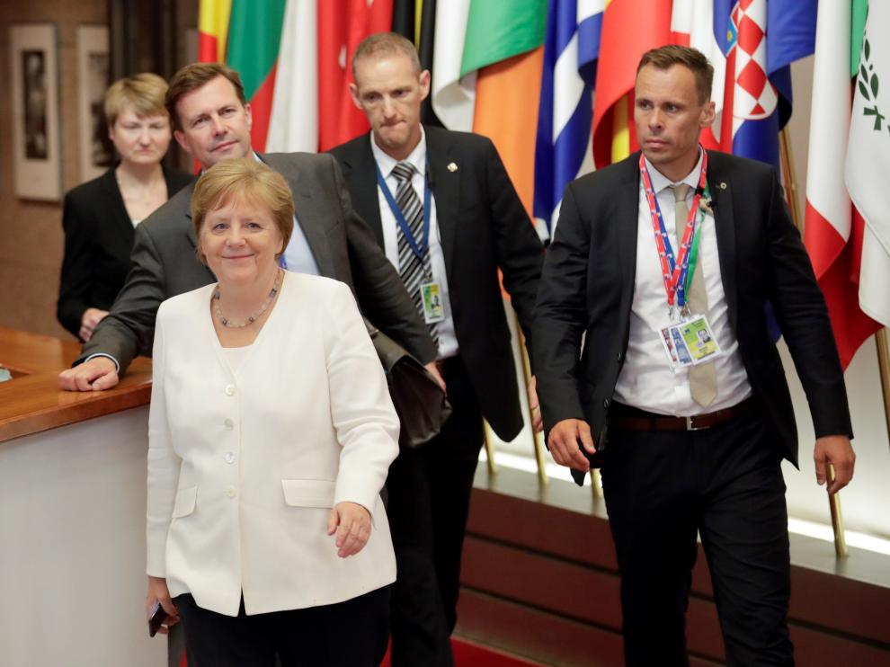 La canciller alemana, Angela Merkel, durante la cumbre de líderes de la UE.