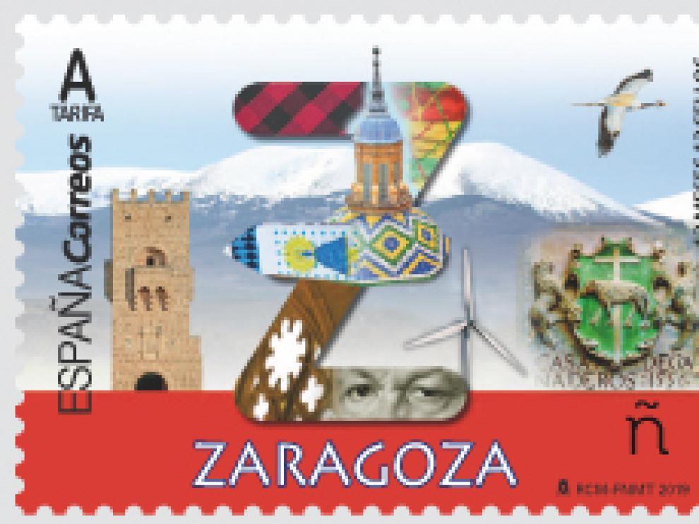 El sello aúna diversos emblemas de la provincia de Zaragoza
