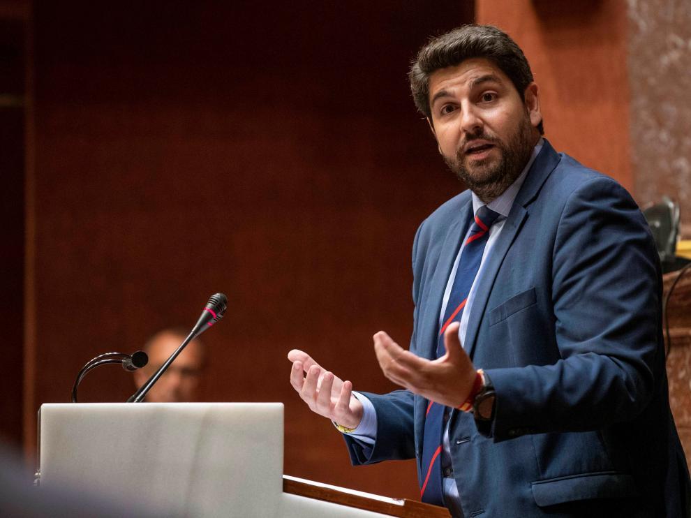 El candidato del PP a la presidencia del Gobierno de Murcia, Fernando López Miras.
