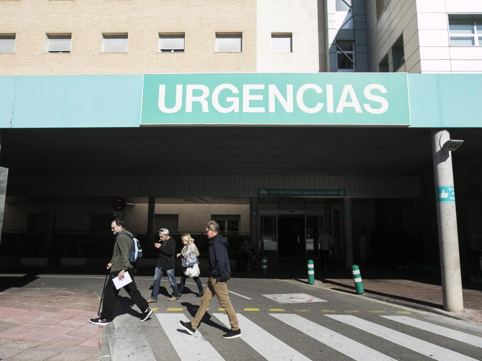 Entrada del servicio de urgencias del Hospital Miguel Servet de Zaragoza.