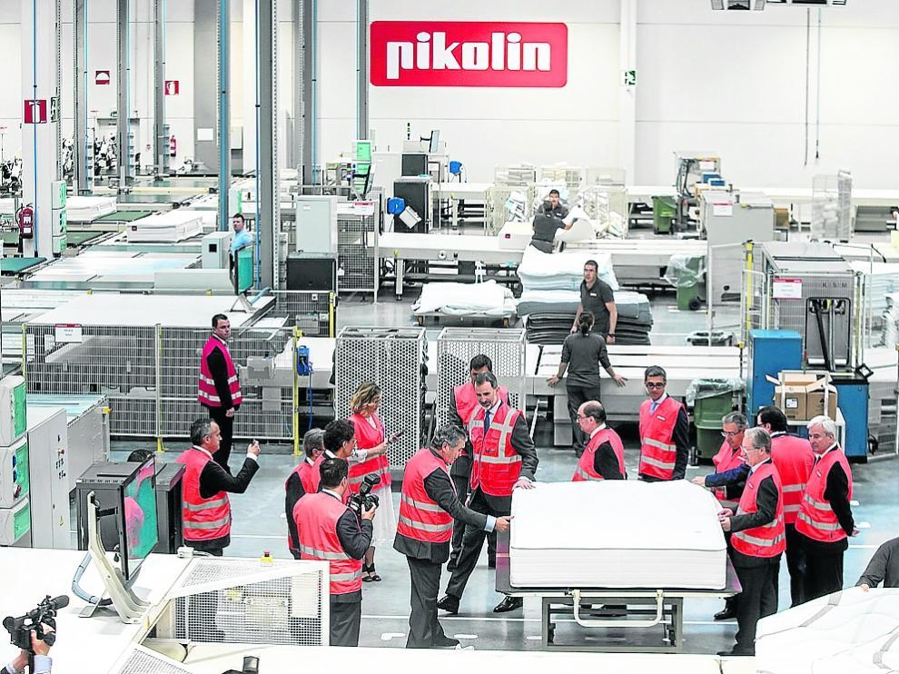 Instalaciones de Pikolin en Plaza. El rey Felipe VI visitó la nueva fábrica en mayo de 2018.