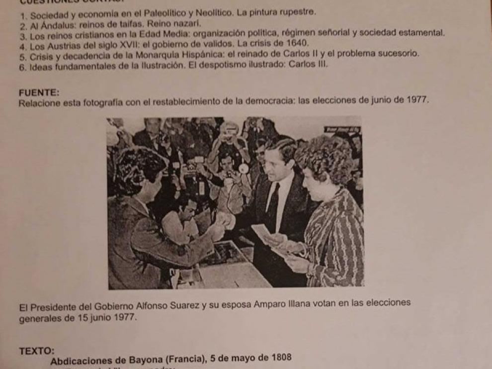 Imagen del examen compartida en redes sociales
