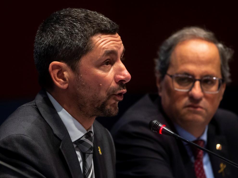 El nuevo presidente de la Cambra de Barcelona, Joan Canadell, junto a Quim Torra.