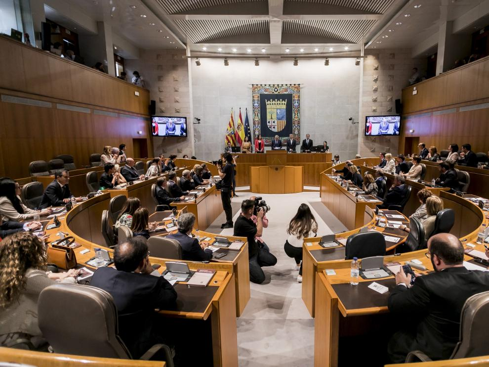 Imagen del hemiciclo de las Cortes de Aragón, el pasado junio.