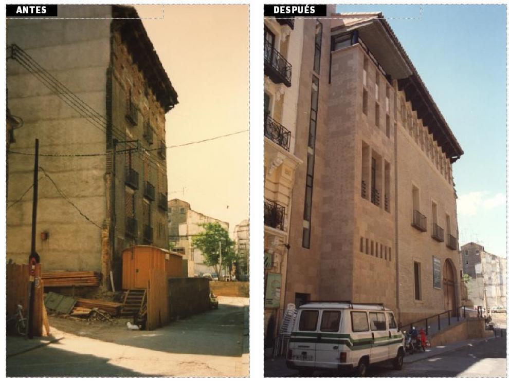 El estado en el que se encontraba el palacio hace 25 años y en la actualidad.